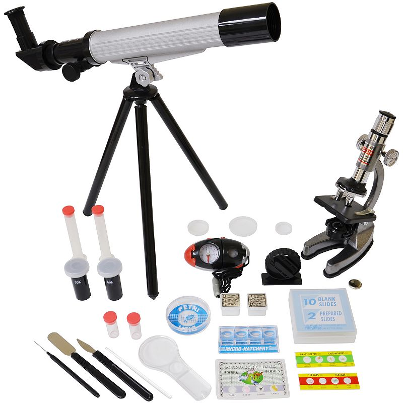 Microscope and Telescope Set with Survival Kit, Multicolor 40x telescope 1200x die cast microscope Easy-to-carry case What's Included Telescope, eyepiece, objective lens & tripod Die-cast microscope Blank slides, labels & covers Prepared slides Petri dish Collecting vials Needle, scalpel & spatula Ages 10 years & up Model no. EDU-TM008 Promotional offers available online at Kohls.com may differ from those offered in Kohl's stores. Size: One Size. Color: Multicolor. Gender: Unisex. Age Group: Kids.