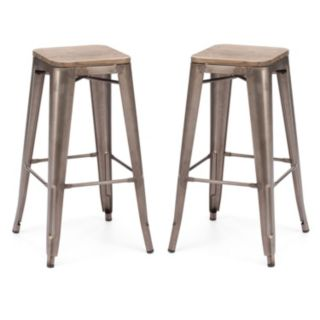 Zuo Modern 2-piece Marius Brown Bar Stool Set
