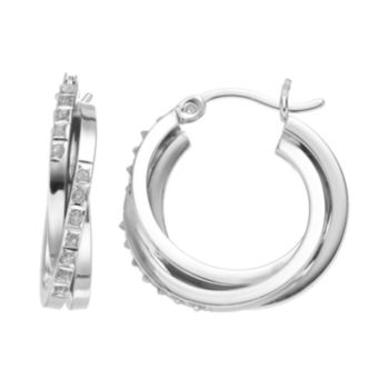 Diamond Mystique Platinum Over Silver Double Hoop Earrings
