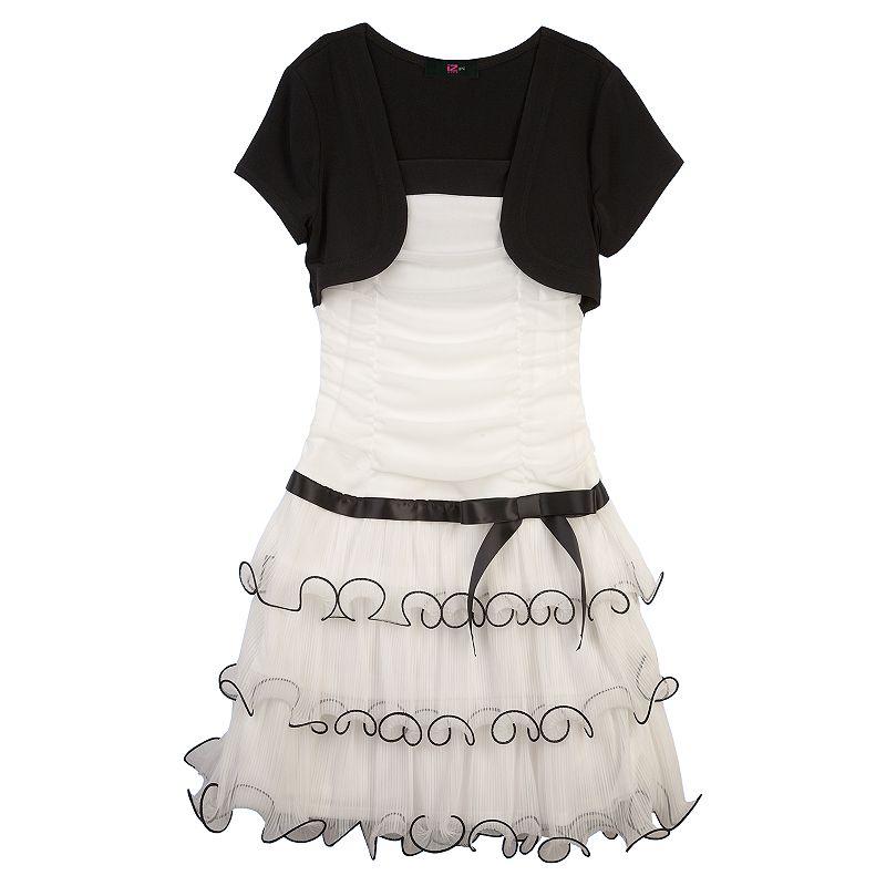 IZ Amy Byer Mock Bolero Pleated Mesh Dress - Girls Plus