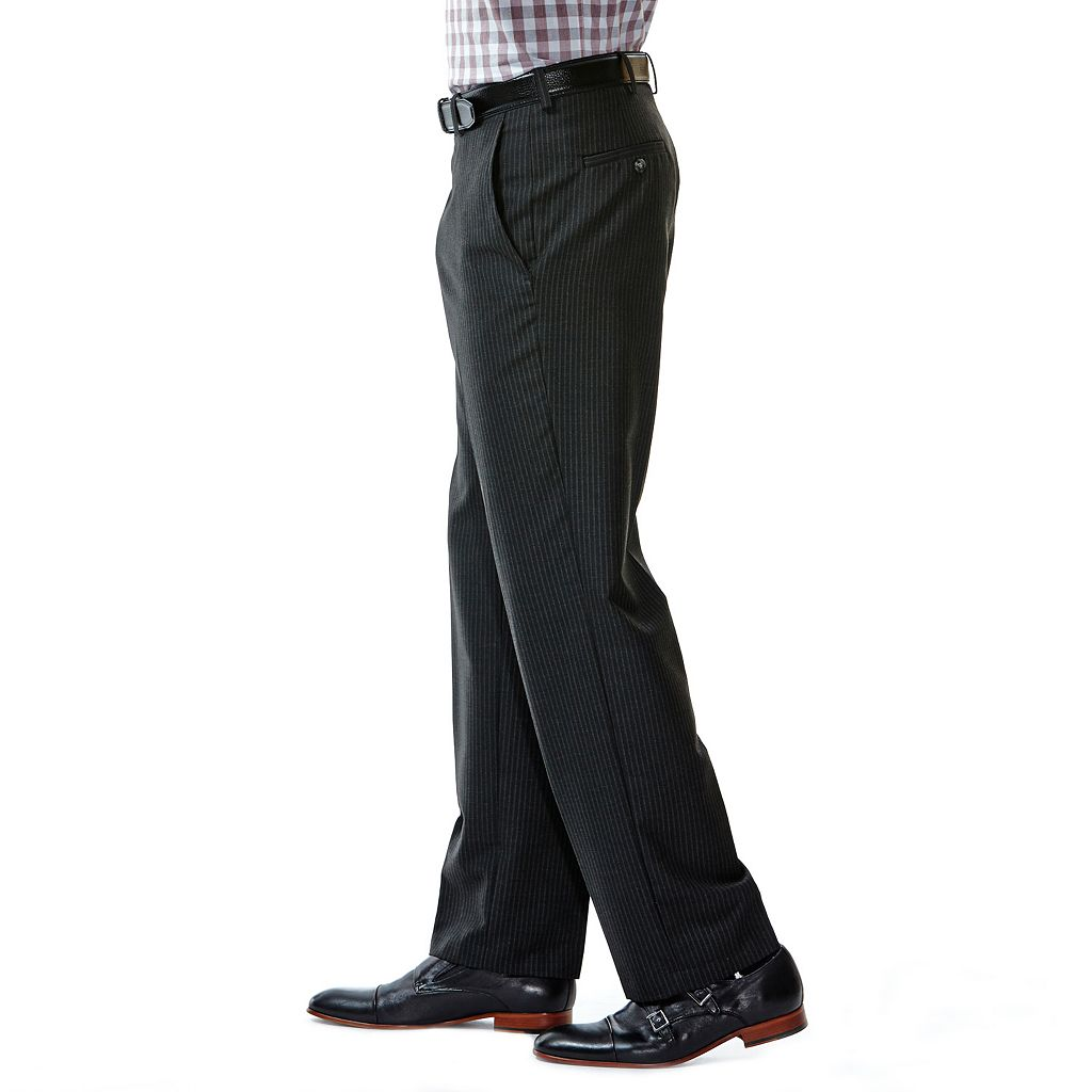 Men's Haggar® Tailored-Fit Shadow-Striped Black Flat-Front Suit Pants