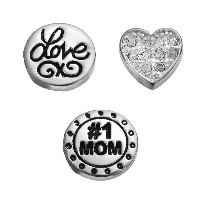 "Blue La Rue Crystal Silver-Plated ""Love"" Coin, ""#1 Mom"" Coin & Heart Charm Set, Women's, Grey"