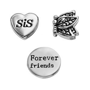 "Blue La Rue Silver-Plated ""Sis"" Heart, ""Forever Friends"" Coin & Butterfly Charm Set"