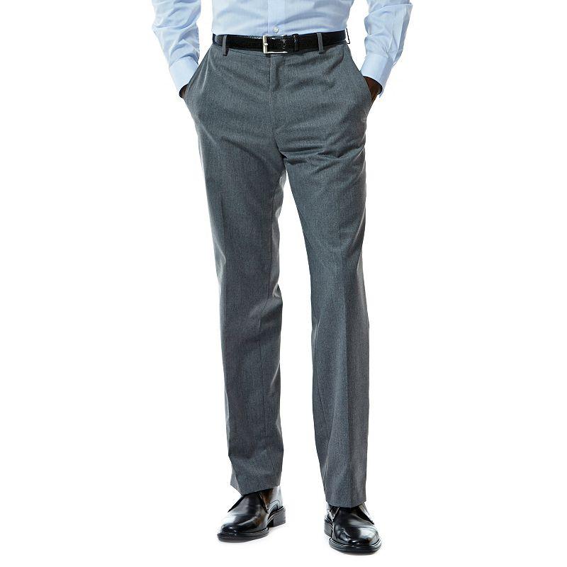 Haggar Tailored-Fit Gabardine Heather Flat-Front Dark Gray Suit Pants - Men