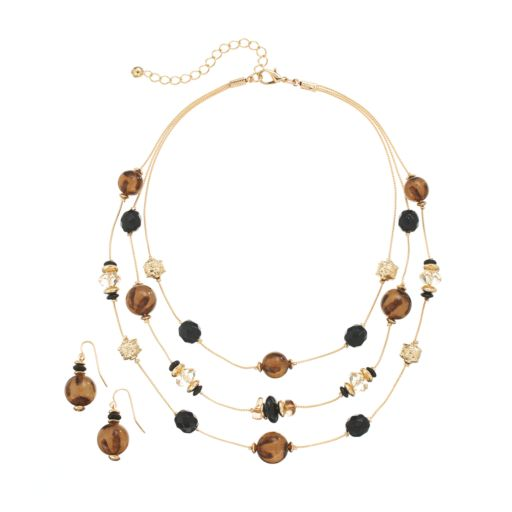 Bead Multistrand Necklace & Drop Earring Set