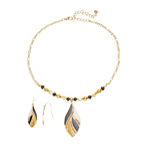 Bead & Marquise Necklace & Drop Earring Set