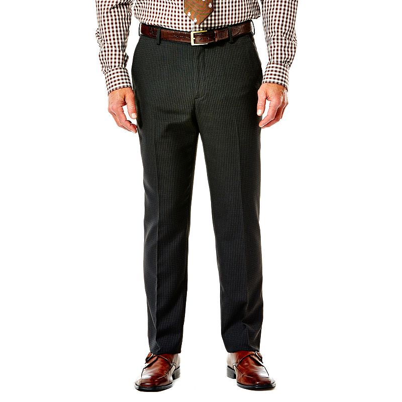 Haggar® Slim-Fit Checked Heathered Black Flat-Front Suit Pants - Men