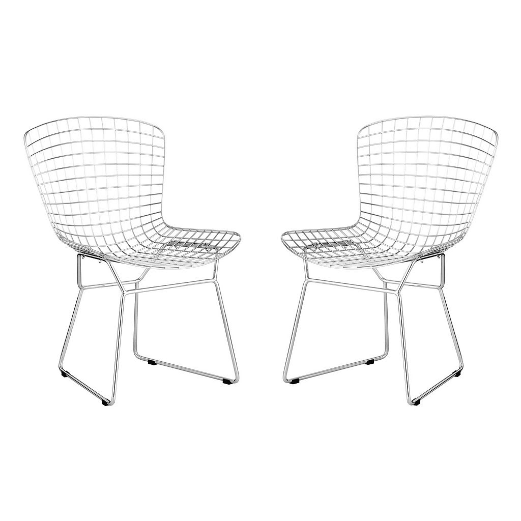 Zuo Modern 2-pc. Chrome Wire Dining Chair Set
