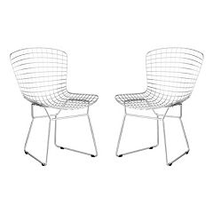 Zuo Modern 2 pc Chrome Wire Dining Chair Set