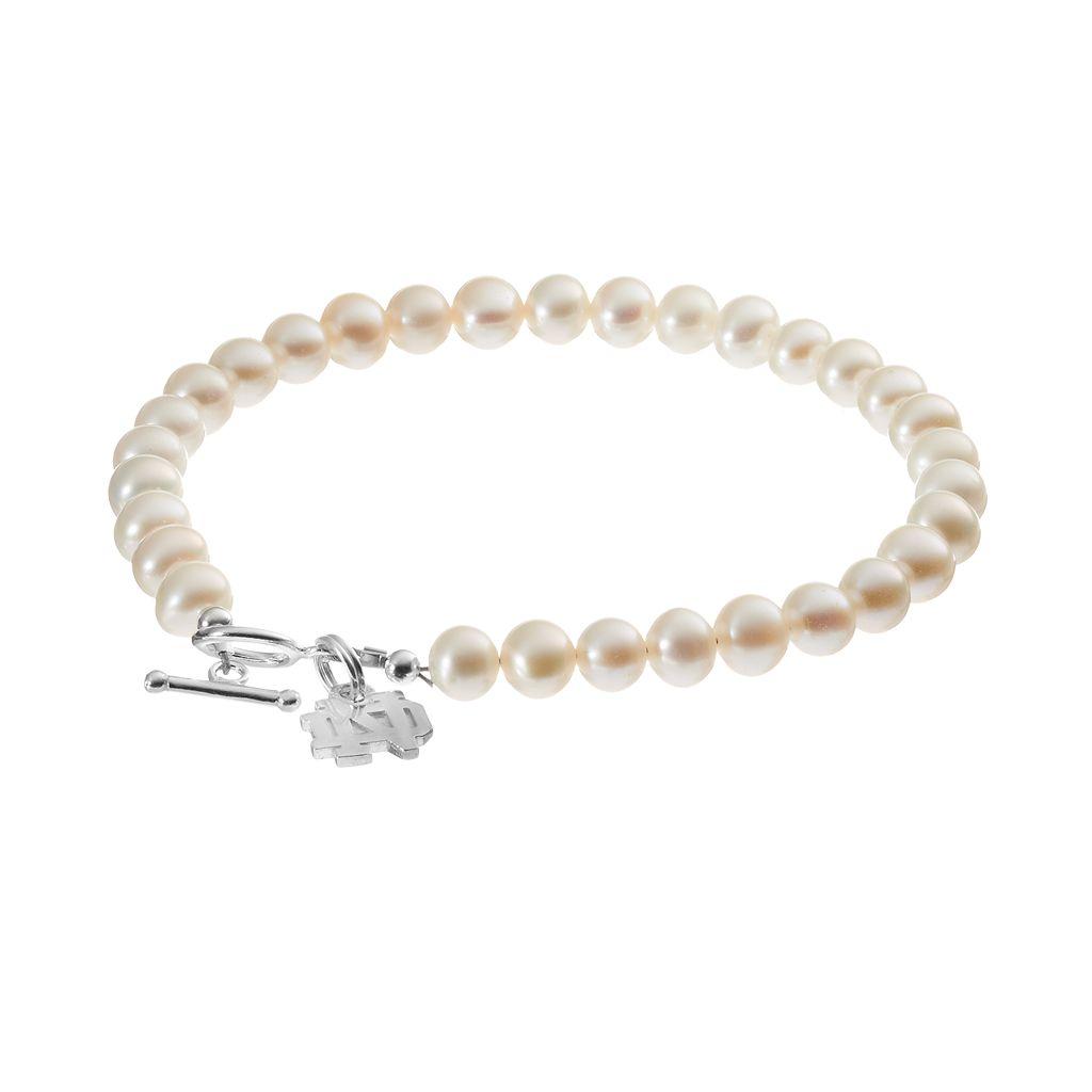 Dayna U Notre Dame Fighting Irish Freshwater Cultured Pearl Sterling Silver Charm Bracelet