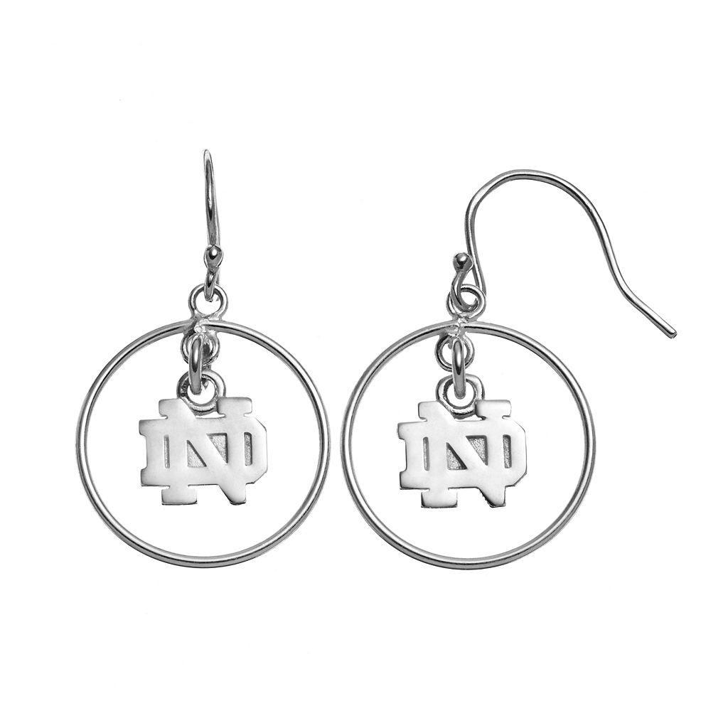 Dayna U Notre Dame Fighting Irish Sterling Silver Logo Charm Hoop Drop Earrings