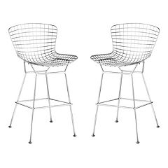 Zuo Modern 2 pc Chrome Wire Bar Chair Set