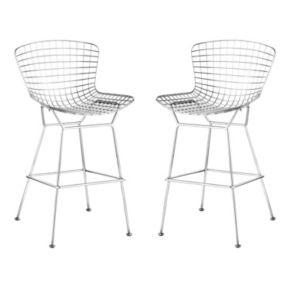 Zuo Modern 2-pc. Chrome Wire Bar Chair Set