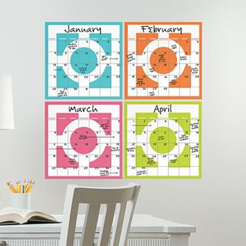 WallPops Chroma Dry Erase Calendar Set Decals