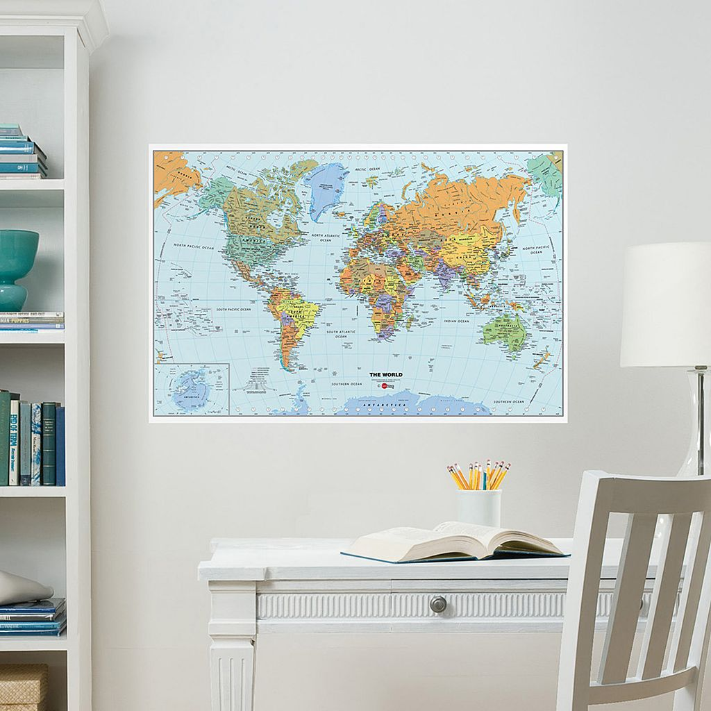 WallPops World Map Dry Erase Wall Decal
