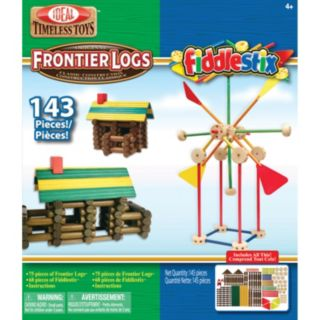Ideal 143-pc.  Frontier Logs and Fiddlestix Wood Construction Combo Box
