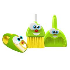 Kidz Delight Silly Sam Broom, Dustpan & Larry the Talking Vacuum Set