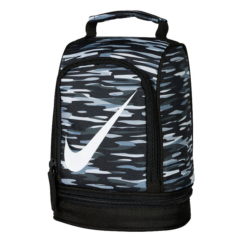 Nike Dome Lunch Bag, Black : Padded handle makes carrying easy. Insulated design helps keep food and beverages cold. Outer pocket holds utensils and small items. Lower compartment provides space for a cooler pack. : 9 1/2''H x 6 1/2''W x 5''D Weight: .04 lbs Exterior: main compartment & 2 zip pockets Zipper closure Polyester Hand wash Model no. 9A2546A Size: One Size. Color: Black. Gender: Unisex.