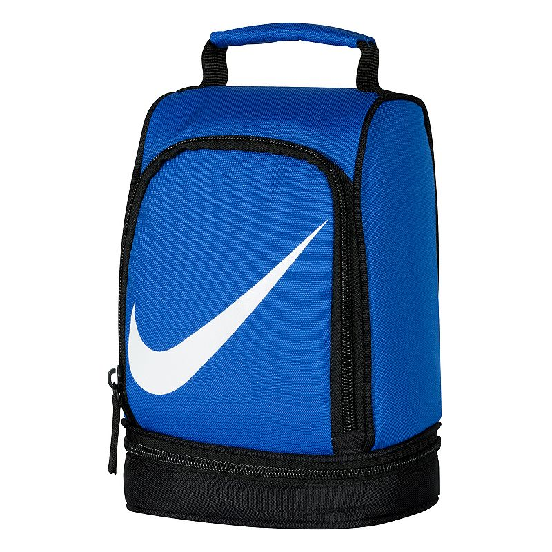 Nike Dome Lunch Bag, Blue : Padded handle makes carrying easy. Insulated design helps keep food and beverages cold. Outer pocket holds utensils and small items. Lower compartment provides space for a cooler pack. : 9 1/2''H x 6 1/2''W x 5''D Weight: .04 lbs Exterior: main compartment & 2 zip pockets Zipper closure Polyester Hand wash Model no. 9A2546A Size: One Size. Color: Blue. Gender: Unisex. Age Group: Adult.