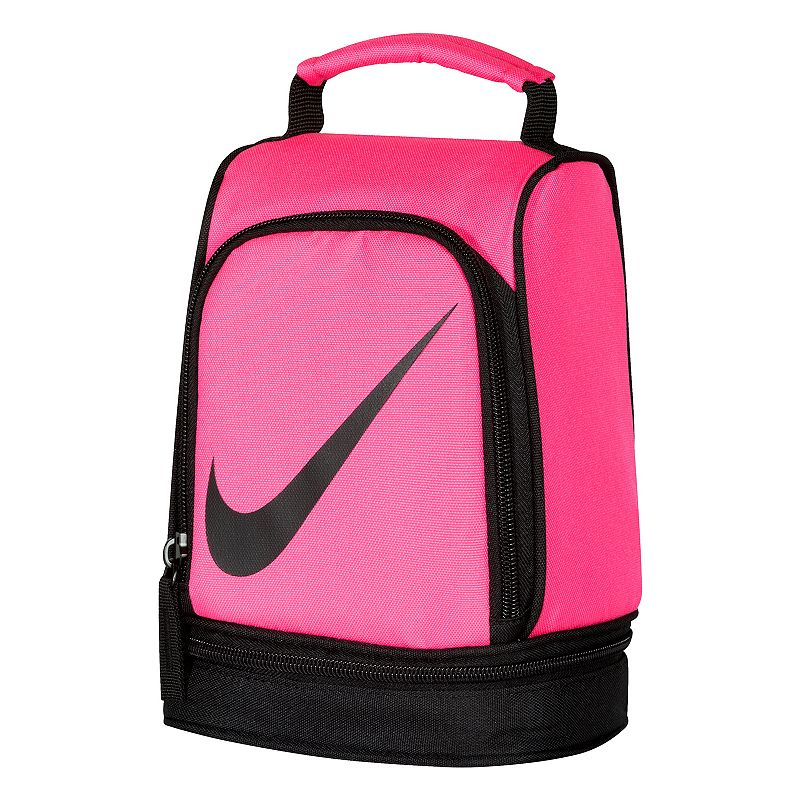 Nike Dome Lunch Bag, Pink : Padded handle makes carrying easy. Insulated design helps keep food and beverages cold. Outer pocket holds utensils and small items. Lower compartment provides space for a cooler pack. : 9 1/2''H x 6 1/2''W x 5''D Weight: .04 lbs Exterior: main compartment & 2 zip pockets Zipper closure Polyester Hand wash Model no. 9A2546A Size: Onesize. Color: Pink. Gender: Unisex.
