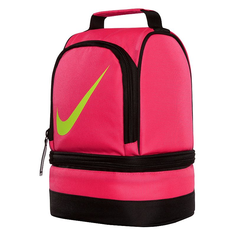 Nike Dome Lunch Bag, Pink : Padded handle makes carrying easy. Insulated design helps keep food and beverages cold. Outer pocket holds utensils and small items. Lower compartment provides space for a cooler pack. : 9 1/2''H x 6 1/2''W x 5''D Weight: .04 lbs Exterior: main compartment & 2 zip pockets Zipper closure Polyester Hand wash Model no. 9A2546A Size: One Size. Color: Pink. Gender: Unisex.