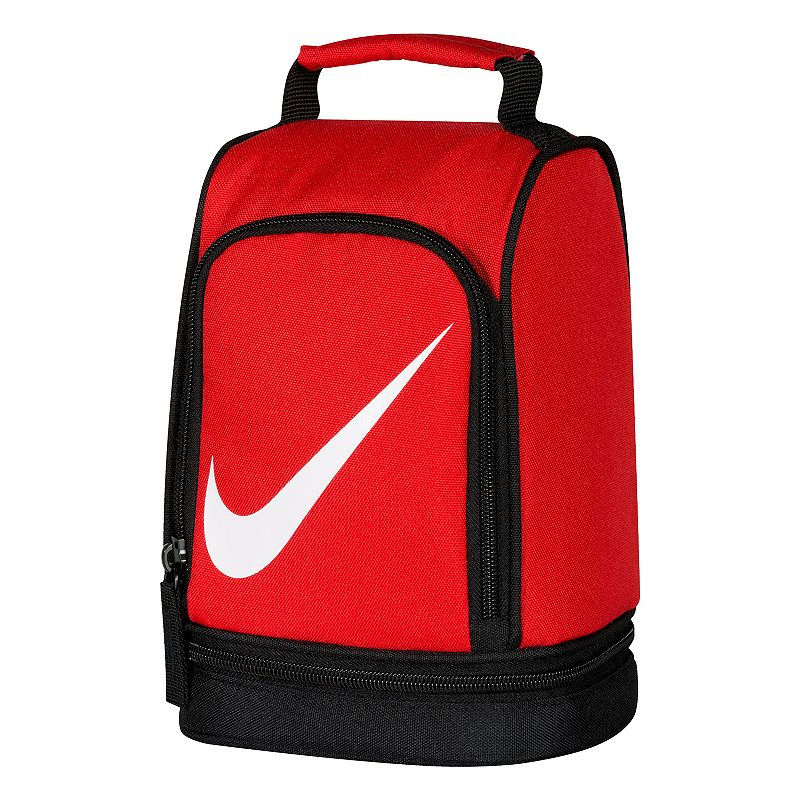 Nike Dome Lunch Bag, Red : Padded handle makes carrying easy. Insulated design helps keep food and beverages cold. Outer pocket holds utensils and small items. Lower compartment provides space for a cooler pack. : 9 1/2''H x 6 1/2''W x 5''D Weight: .04 lbs Exterior: main compartment & 2 zip pockets Zipper closure Polyester Hand wash Model no. 9A2546A Size: One Size. Color: Red. Gender: Unisex.
