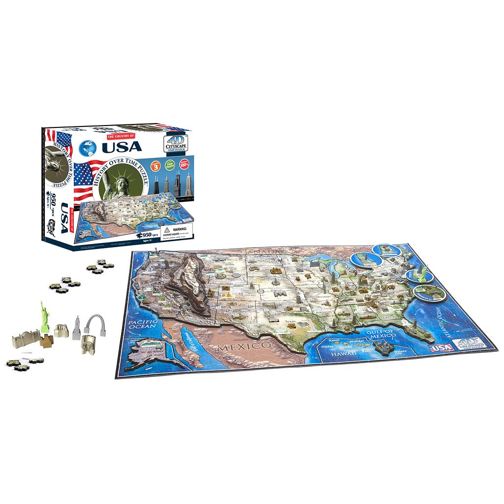 4D Cityscape USA Time Puzzle