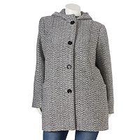 Plus Size Gallery Hooded Tweed Wool-Blend Jacket