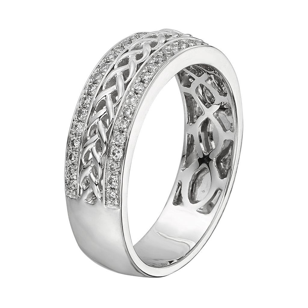 14k White Gold 1/4-ct. T.W. Diamond Braided Wedding Ring