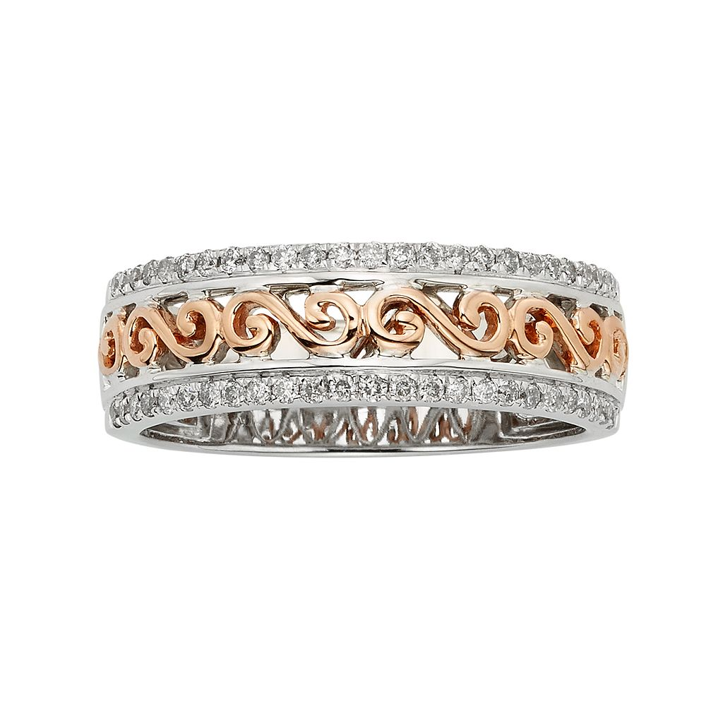 14k Gold Two Tone 1/4-ct. T.W. Diamond Scrollwork Wedding Ring