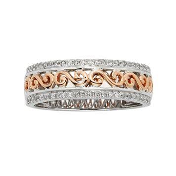 14k Gold Two Tone 1/4-ct. T.W. Diamond Scrollwork Wedding Ring