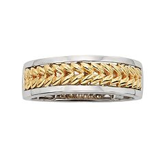 14k Gold Two Tone Herringbone Wedding Band - Men