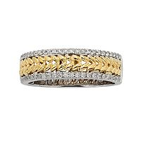 14k Gold Two Tone 1/4-ct. T.W. Diamond Herringbone Wedding Ring