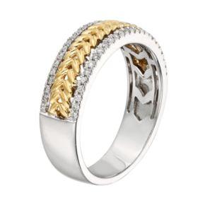 14k Gold Two Tone 1/4-ct. T.W. Diamond Herringbone Wedding Ring