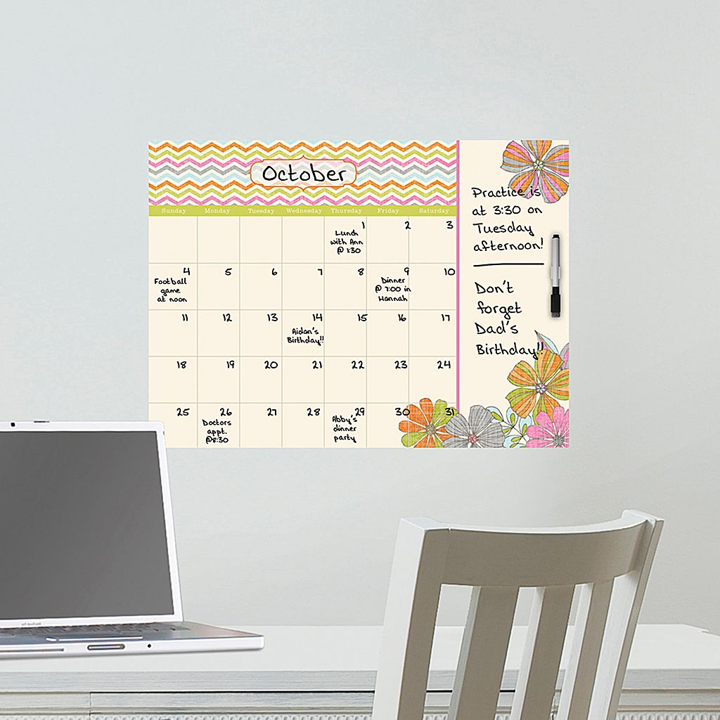 WallPops St. Tropez Dry Erase Monthly Calendar Wall Decal