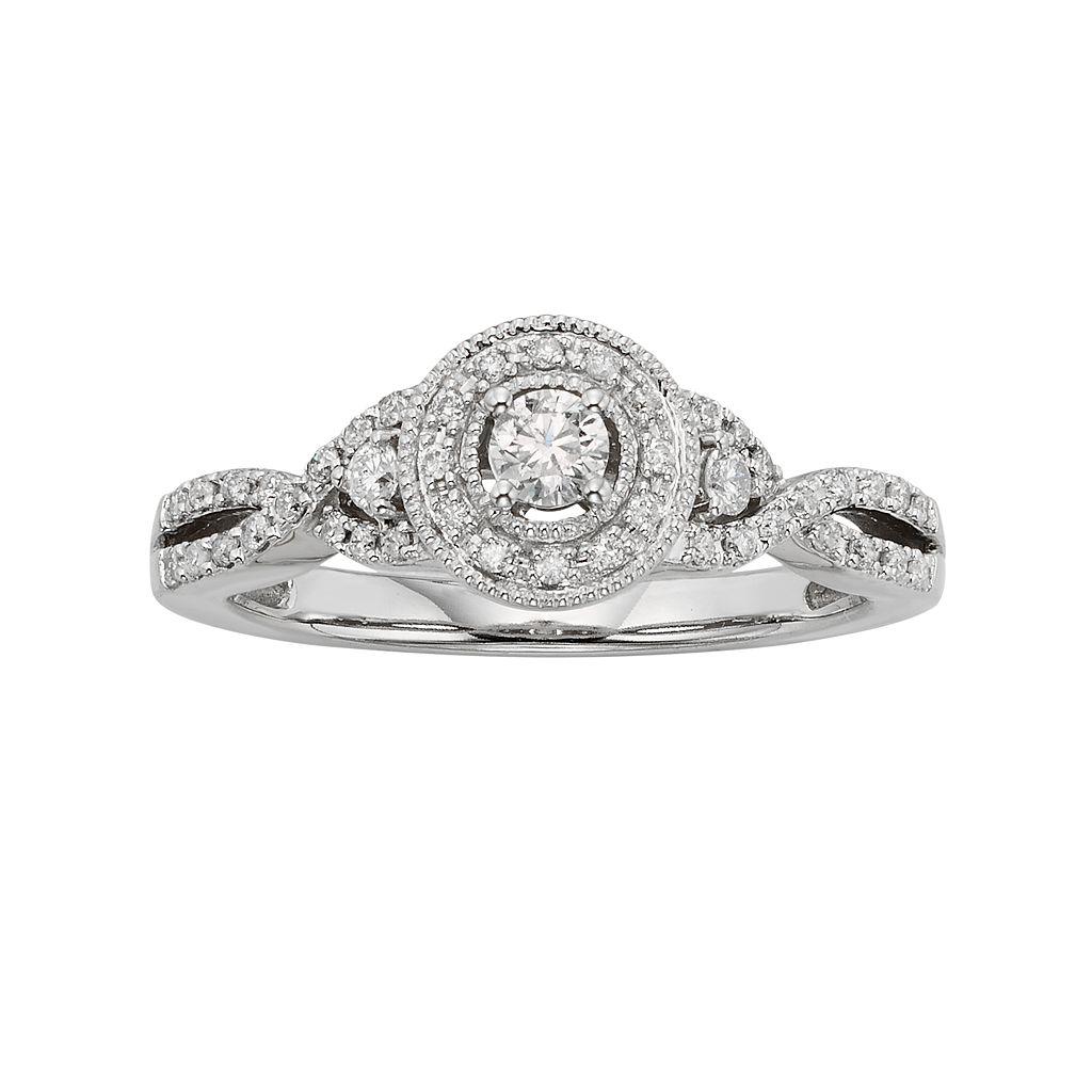 Diamond Crisscross Halo Engagement Ring in 10k White Gold (3/8 ct. T.W.)