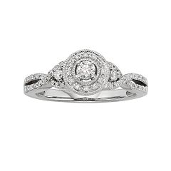 Diamond Crisscross Halo Engagement Ring in 10k White Gold (3/8 ctT.W.)