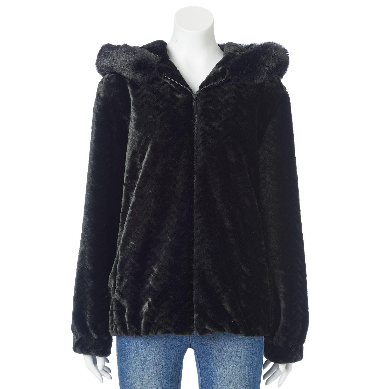 Faux Fur Jacket With Hood xbtKp2