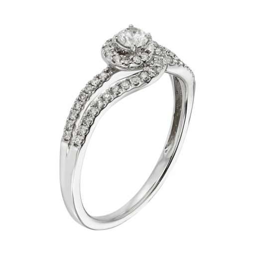 Diamond Swirl Engagement Ring in 10k White Gold (3/8 ct. T.W.)