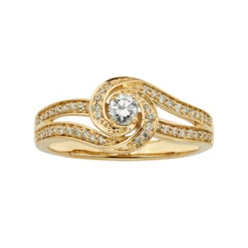 Diamond Swirl Engagement Ring in 10k Gold (3/8 ct. T.W.)