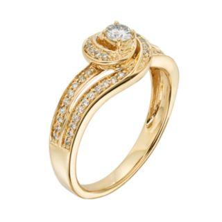 Diamond Swirl Engagement Ring in 10k Gold (3/8 ct. T.W.)