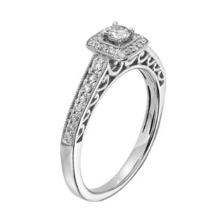 Diamond Square Halo Engagement Ring in 10k White Gold (3/8 ct. T.W.)
