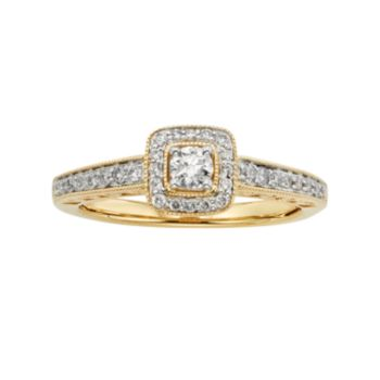 Diamond Square Halo Engagement Ring in 10k Gold (3/8 ct. T.W.)