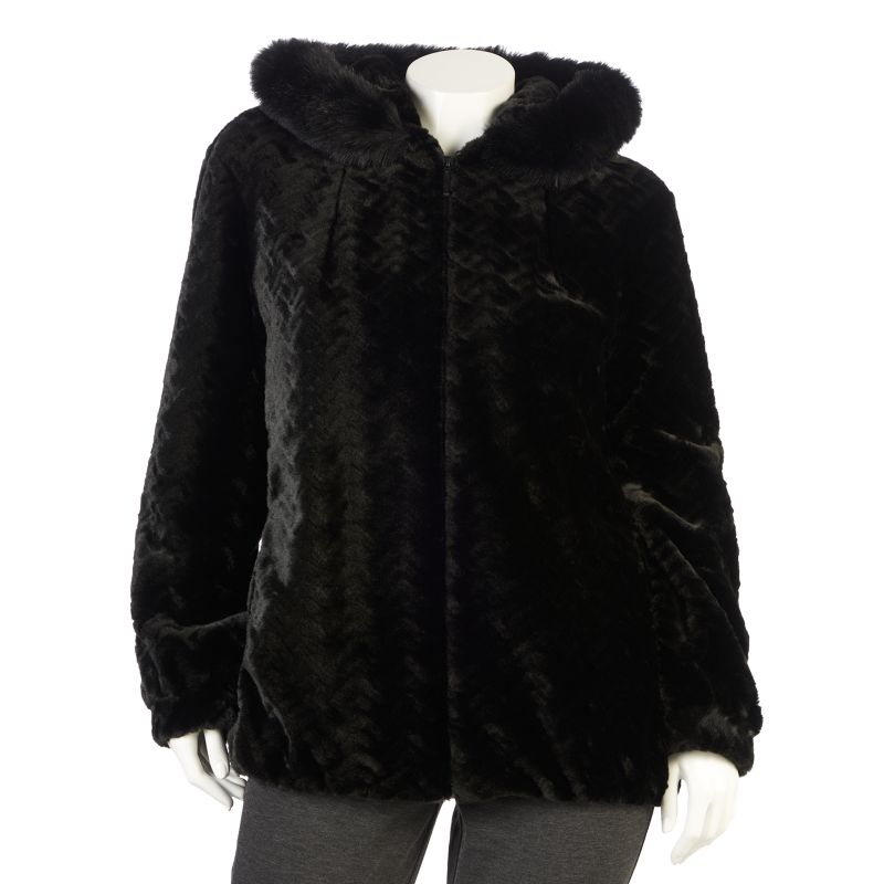 Gallery Hooded Faux-Fur Jacket - Women's Plus Size