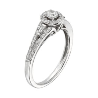 Diamond Halo Engagement Ring in 10k White Gold (3/8 ct. T.W.)