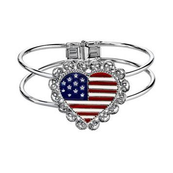 1928 American Flag Heart Openwork Bangle Bracelet
