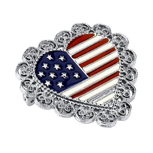 1928 American Flag Heart Pin