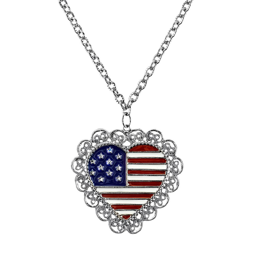 1928 American Flag Heart Necklace