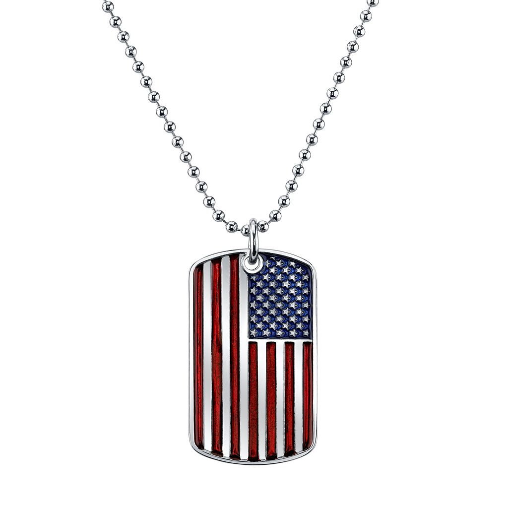 1928 American Flag Dog Tag Necklace
