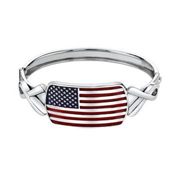 1928 American Flag & Ribbon Bangle Bracelet